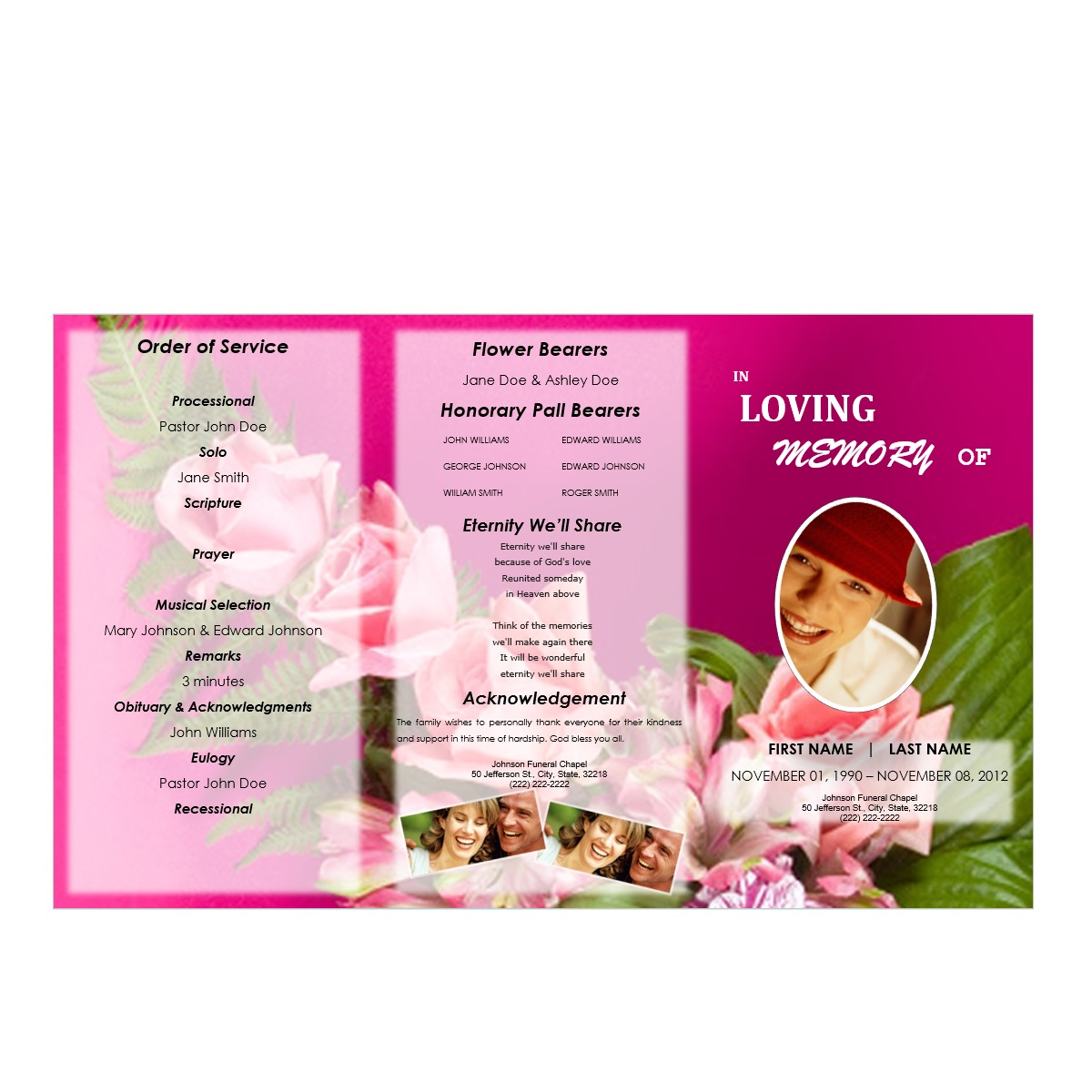Floral 6 Tri Fold Brochure Program Funeral Pamphlets