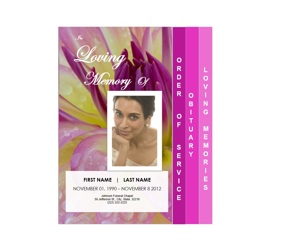 4 Step Graduated Floral Funeral Service Program Template  Free Printable Memorial Service Programs