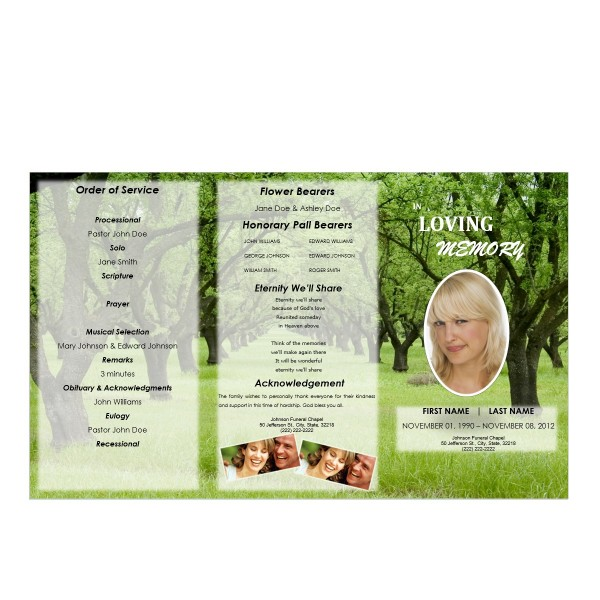 trifold funeral brochure