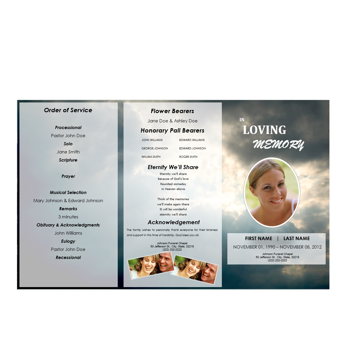 tri fold outdoor 3 funeral pamphlets