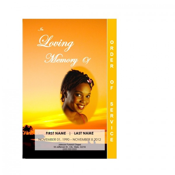 sunset palm trees funeral service program template