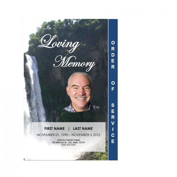 waterfall funeral obituary service card template