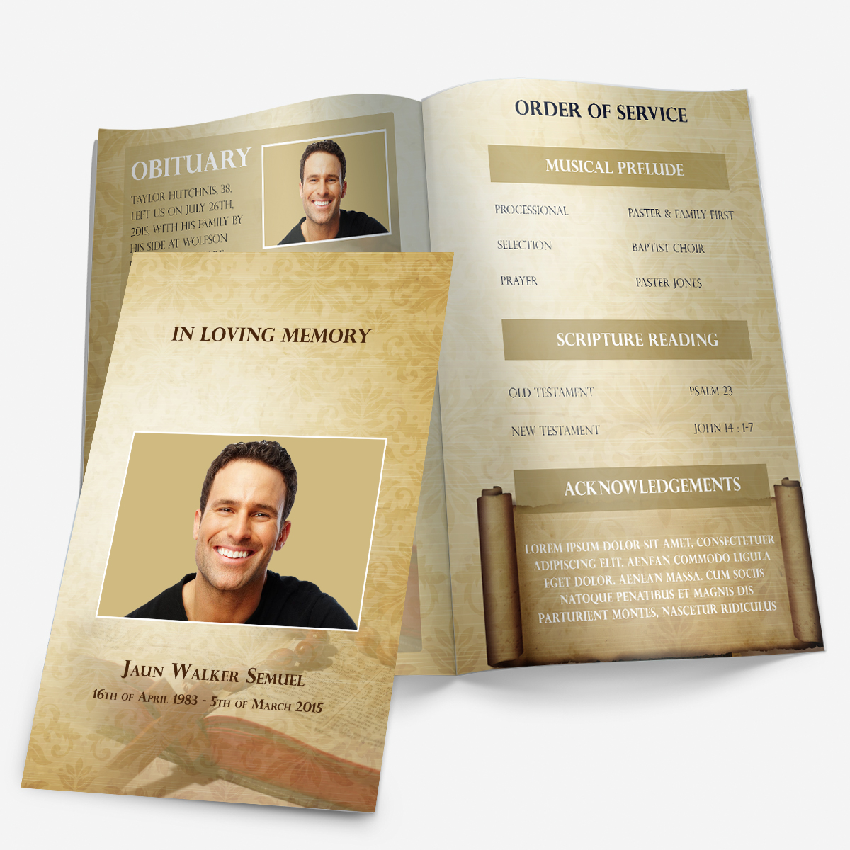 Bible Theme Funeral Pamphlets - Free printable funeral program template
