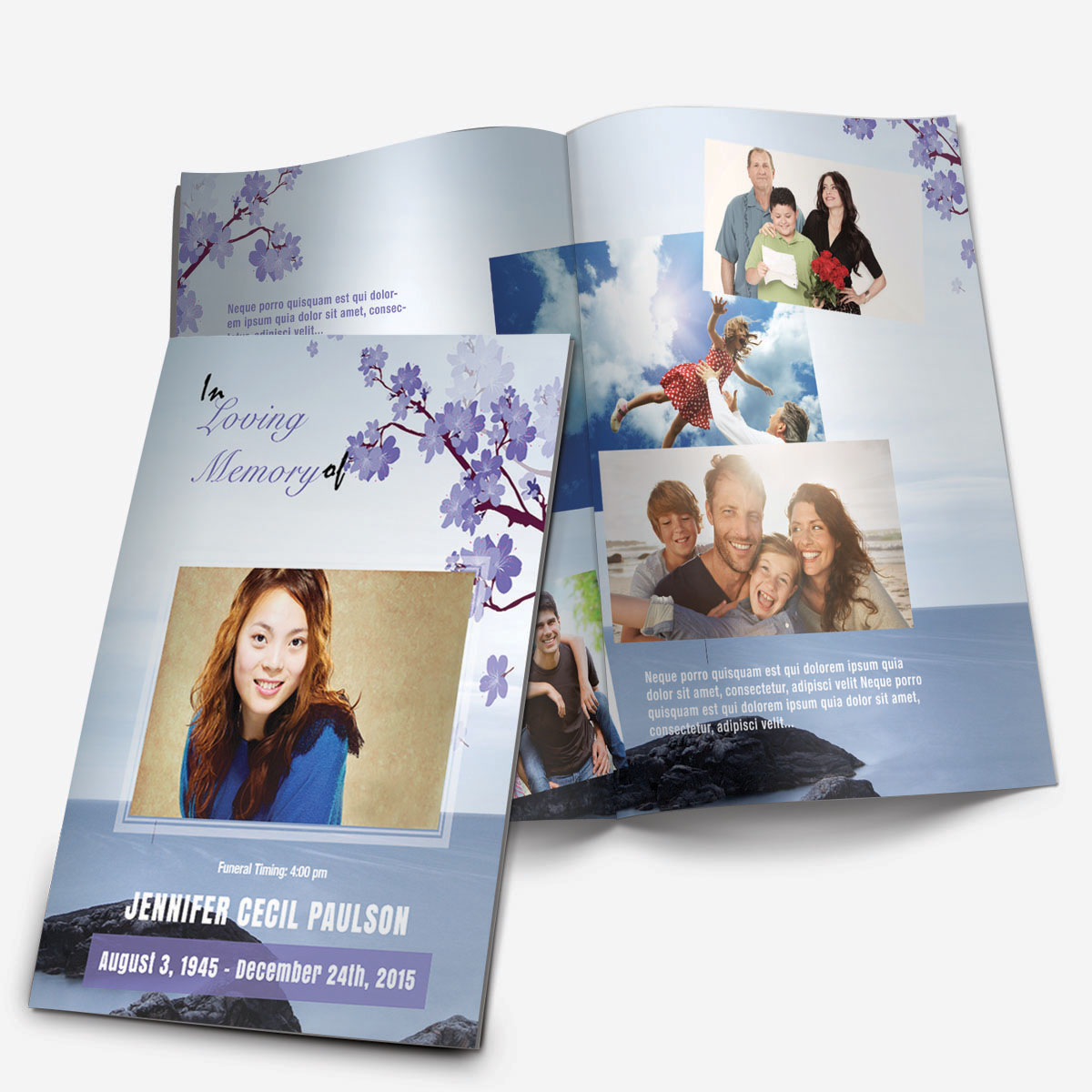 Floral 8 Funeral Pamphlets – Printable Funeral Program Templates
