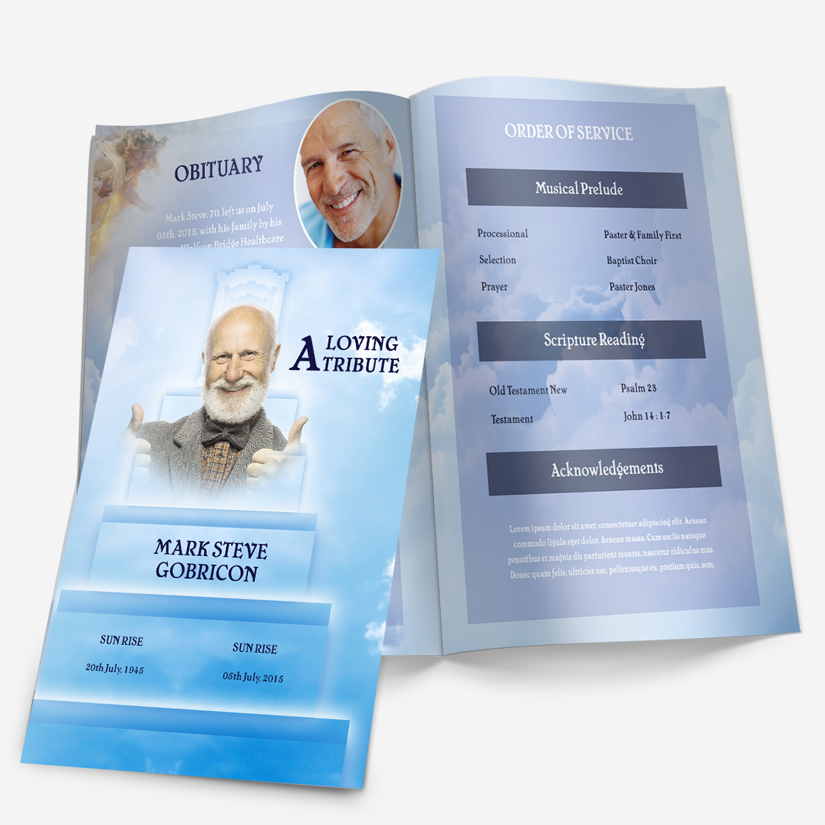 Stairway to Heaven Funeral Pamphlets – Printable Funeral Program Templates