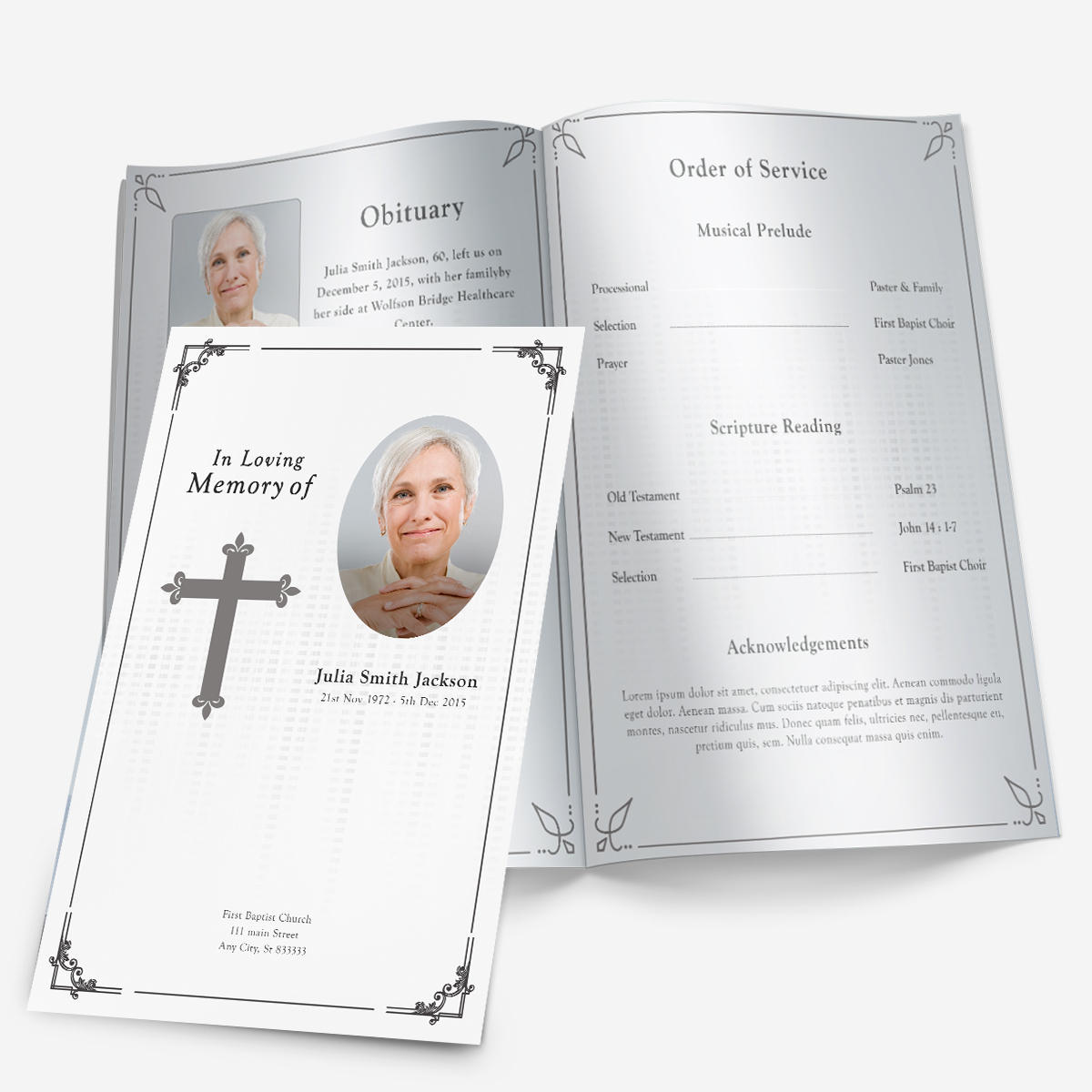 Black U0026 White Memorial Program Template  Free Printable Obituary Program Template