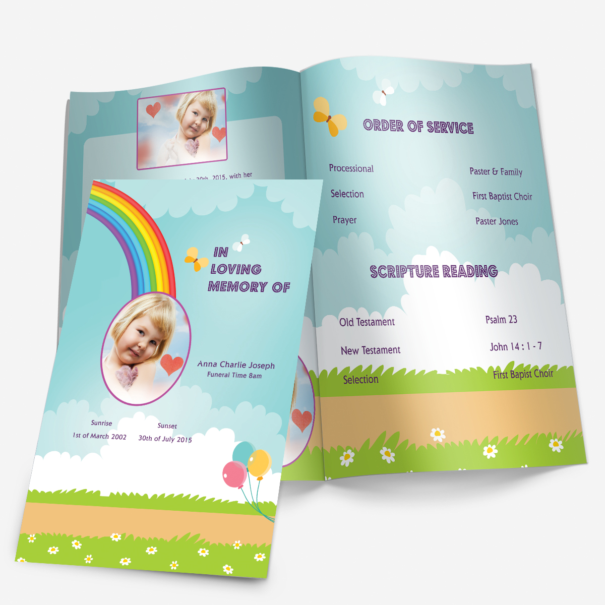 Charming Baby Funeral Program