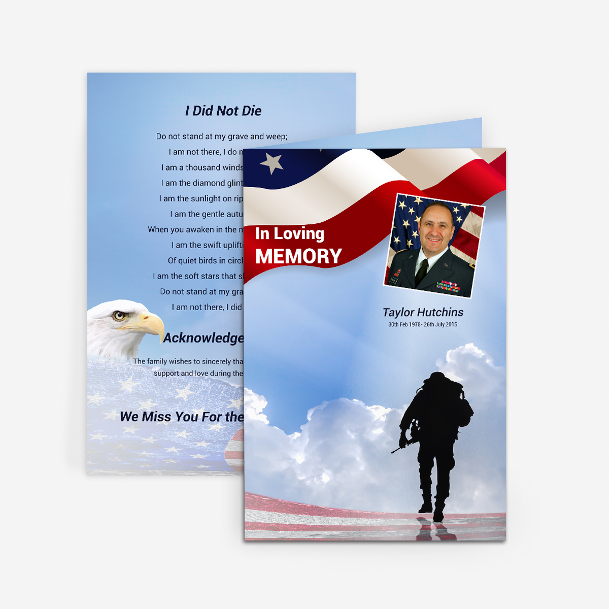 Military Funeral Card - Funeral Pamphlets