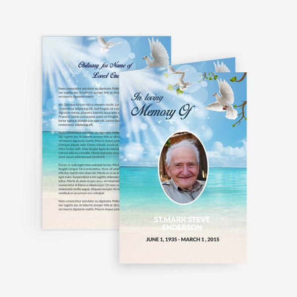Dove funeral card funeral pamphlets for Funeral memory cards free templates