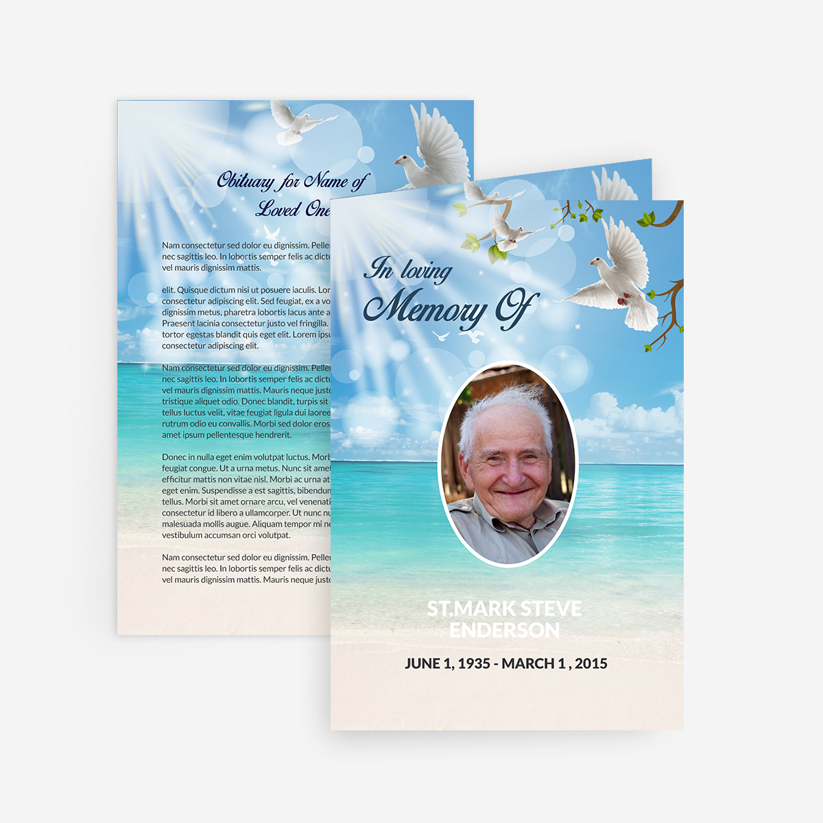 Dove Funeral Card Funeral Pamphlets - Free memorial card template word