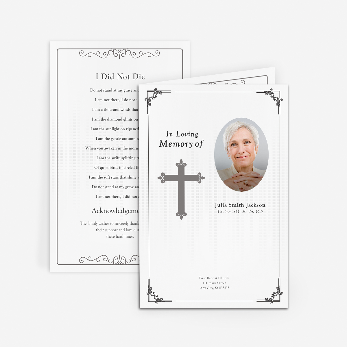 Traditional \u0027Cross\u0027 Funeral Card   Funeral Pamphlets  Funeral Announcement Sample