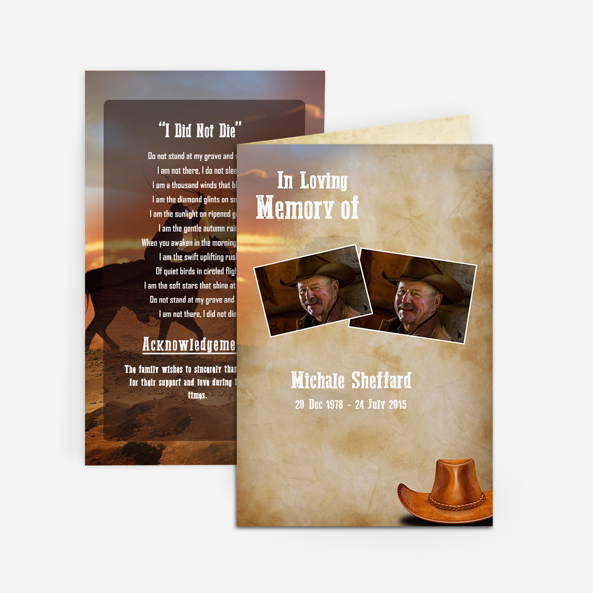 Cowboy Funeral Card Funeral Pamphlets