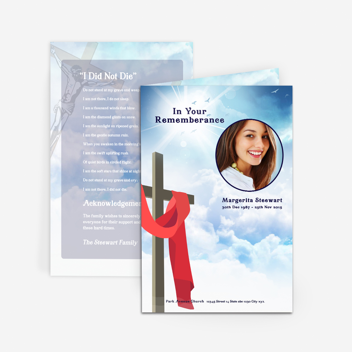 39 cross in clouds 39 funeral card funeral pamphlets. Black Bedroom Furniture Sets. Home Design Ideas